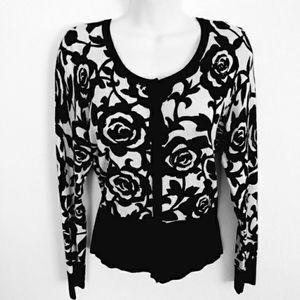 WHBM Rose pattern black/white cardigan sweater